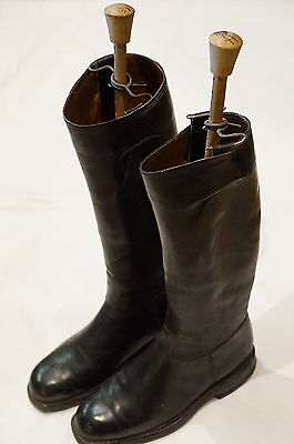 WW2 German Officers Black Leather Boots Pair