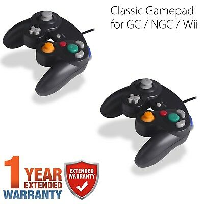 NEW 2 lot x Black Shock Game Controller Pad for Nintendo Gamecube GC Wii