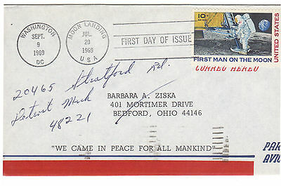USPS First Man On The Moon Stamp First Day Issue FDI 09/09/1969