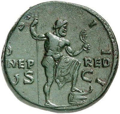 Hadrian 125AD Neptune Authentic Ancient Roman Coin NGC Certified ChVF*Fine Style