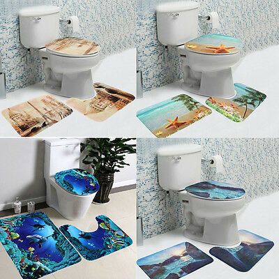 3Pcs/Set Washable Bathroom Non-Slip Pedestal Rug + Lid Toilet Cover + Bath Mat