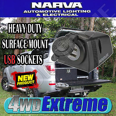 Narva High Quality Heavy Duty Surface Mount Dual Twin Usb Socket 4Wd Car 81154Bl