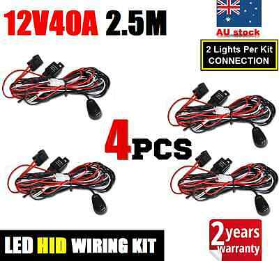 4x 12V40A HID LED WORK LIGHT BAR DRIVING AUTO WIRING LOOM HARNESS RELAY FUSE KIT
