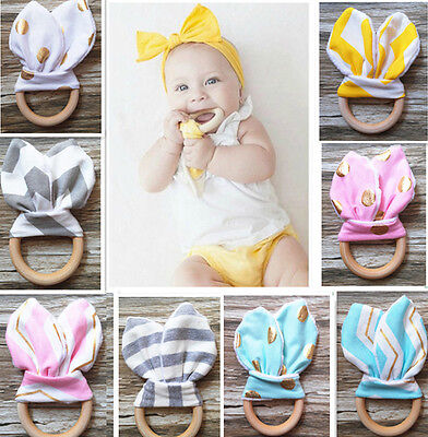 Wooden Teething Ring Baby Teether Training Chew Massager With Crinkle Bunny Ears
