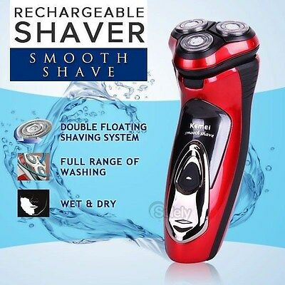Electric Men's Shaver Beard Mustache Rechargeable Waterproof Rotary Wet & Dry