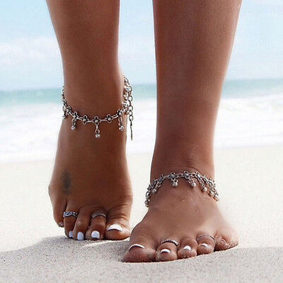 Silver Tassel Anklet Beach Beads Bracelet Jewelry Tibetan Fashion Flower Ankle
