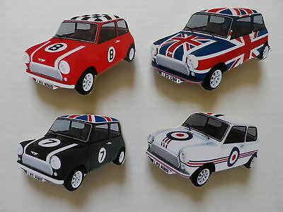 Set Of 4 Classic Mini Car New Fridge Magnets.mod, Union Jack Etc.