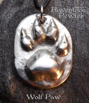 Wolf Paw - Pewter Pendant - Spirit Power Animal Jewelry, Nature Necklace