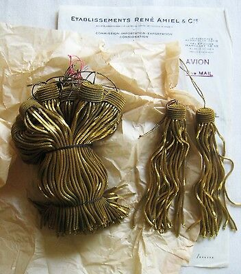 "AMAZING PRICE 6 Vintage/Antique French Dk Gld Metallic Bullion 5"" Tassel Fringe"