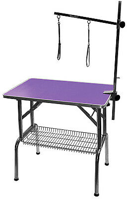 """32"""" Emperor Fold Flat Dog Grooming Table + Grooming Arm - PINK or PURPLE"""