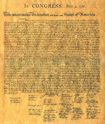 Declaration of Independence Parchment Paper US History GREAT GIFTS!!