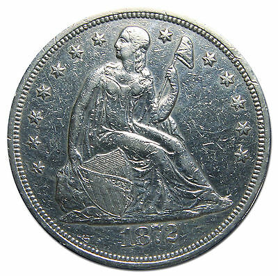 1872 Seated Liberty Silver Dollar $1 Coin Lot# MZ 2345