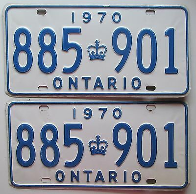 Ontario 1970 License Plate PAIR - HIGH QUALITY # 885-901