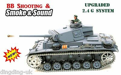 Heng Long radio control RC Panzer iii Pro Tank 1/16 BB Shoot Smoke Sound 2.4G !!