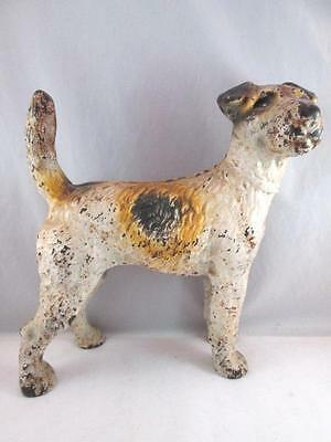 "Lg. Antique HUBLEY c1940s WIRED HAIRED TERRIER Cast Iron Door-Stop 8 1/4"" Dog"