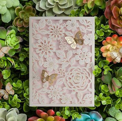 50 x White Laser Cut Lace Butterfly Wedding Invitations Evening Invites Cards