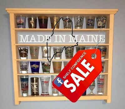 40 Shot Glass Wall Shelf Display Case Knick Knack Rack Solid Pine Ready 2 Finish