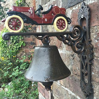 Vintage Car Red Cast Iron Decorative Gate Garden Bell Man Cave