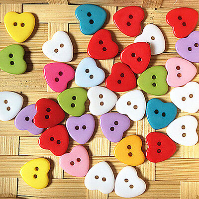 100Pcs Red Heart Wood Buttons Sewing Scrapbooking Cardmaking Craft DIY 10x9MM