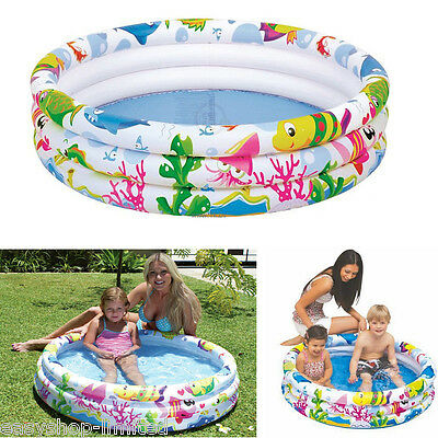 New Inflatable Kids Padding Pool Ocean Life Swimming 3 Rings Fun Outdoor Garden