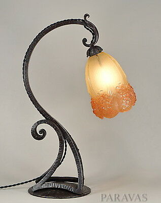HETTIER & VINCENT : FRENCH 1930 ART DECO LAMP wrought iron MULLER FRERES