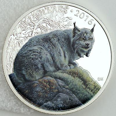 2016 $20 Majestic Animal Series: Commanding Canada Lynx, Pure Silver Color Proof