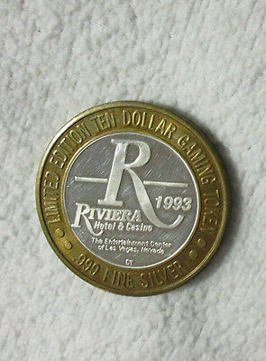 1993 Rivieria Hotel & Casino .999 Silver $10 Gaming Token Evening At Improv