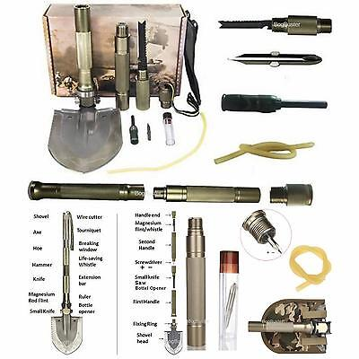 Survival Shovel Multi  Tool Hiking Camping Saw Knife Army Military Folding 4X4