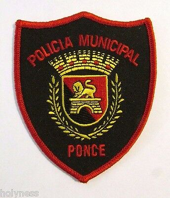 Vintage Embroidered Puerto Rico Police Patch / Policia Municipal Ponce