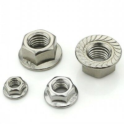 QTY 10 - M8 x 1.25mm Pitch 316 A4 Stainless Serrated Flange Nuts Hex Lock Nuts