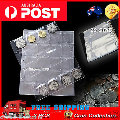 2PCS Classic Coin Collection Storage Album Pages 20 30 42 Pockets For The 3 Ring