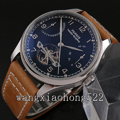 43mm Parnis black dial Power Reserve automatic mechanical men watch Leather