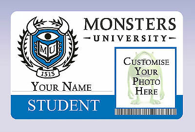 Monsters University Inc Student ID Badge Card - Customisable with NAME + PHOTO