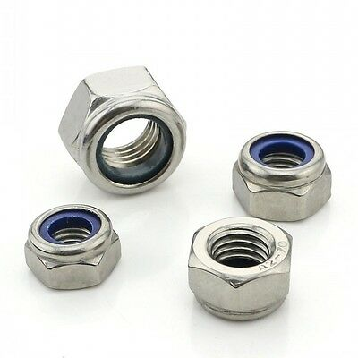 50PCS M3 x 0.5mm Pitch NYLOC LOCK NUTS 316 A4 STAINLESS STEEL HEX LOCK NUTS