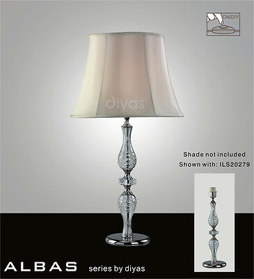 Albas Table Lamp 1 Light Polished Chrome & Crystal. Shade Sold Separately.