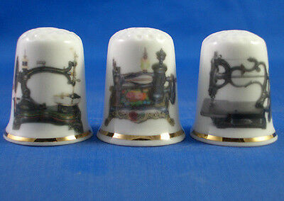 Fine Porcelain China Thimbles - Set Of Three Vintage Sewing Machines