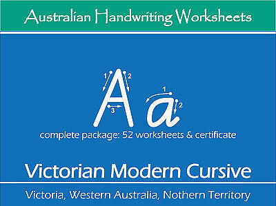 Handwriting Practice Worksheets - Victorian Modern Cursive for VIC, WA and NT