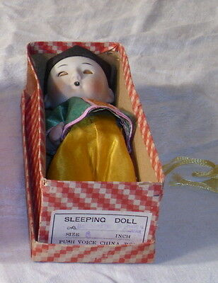 SLEEPING BOY PUSH VOICE ANTIQUE CHINA DOLL BOXED JAPAN 1930s