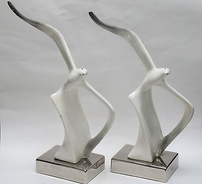 PAIR of VINTAGE MODERNIST 60's CERAMIC SEAGULL SCULPTURE on SILVERED PLINTH ~18""