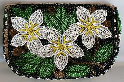 c1900 Ojibwa Chippewa Great Lakes Region Colorful Floral Beaded Bag Pouch Purse