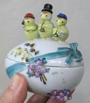 RARE Germany Ceramic Easter Egg Box with Musician Chicks on Lid FABULOUS!