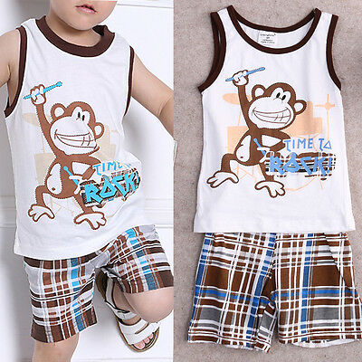 2pcs Newborn+Toddler Kids Baby Boys Summer T-shirt Tops+Pants Clothes Outfit Set