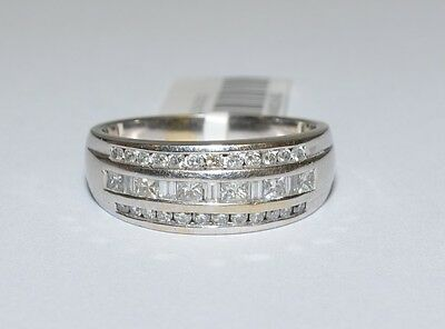 CLEARANCE 18k White Gold 1/2ct SI Princess Baguette Diamond Wedding Ring #688828