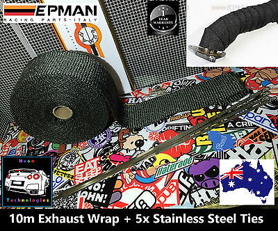 Exhaust Heat Wrap **50mm x 10M** + Stainless Steel Cable Ties *Black down pipe *