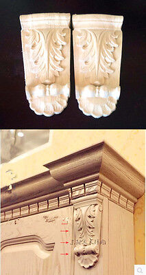 One Pair of Unpainted Wood Oak Carved Onlay Leaf Flower Home Decoration F-Style