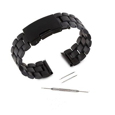Black Stainless Steel Metal Watch Band Strap for Pebble Time Smartwatch+Tools