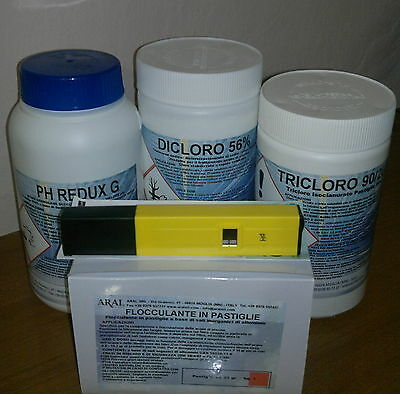 Flocc. Past. 25g+ 1kg Cloro 56% +1kg PH Redux +1kg Tricloro +PH Test Elettronico