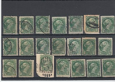 2 cent Small Queen LOT 21 stamps Canada used various cancels