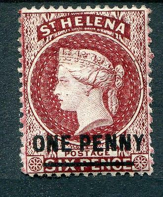 St Helena 1864-80 perf 14 1d lake (Type B) SG27 MLH