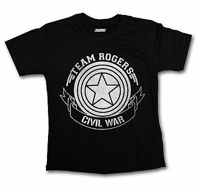 Civil War T Shirt Boys Girls Captain America Team Rogers Top Marvel Silver Print